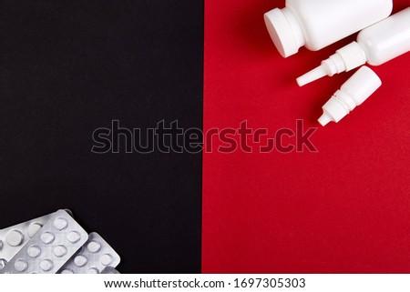 Coronavírus epidemia farmácia vermelho preto pílulas Foto stock © Illia