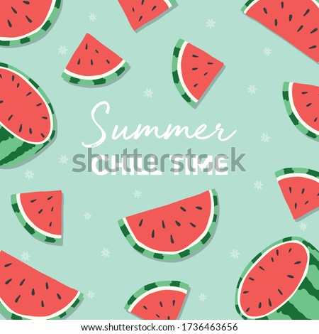 Fruit design with summer chill time typography slogan and fresh coconut on light orange background.  Stock photo © BlueLela