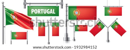 Vector set of the national flag of Portugal in various creative designs Stock photo © butenkow