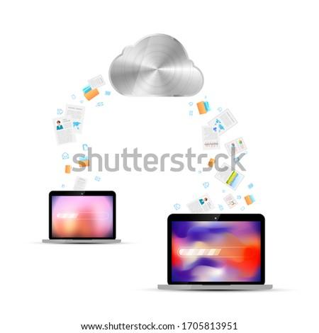 Akta átutalás kettő laptopok felhő szolgáltatás Stock fotó © evgeny89