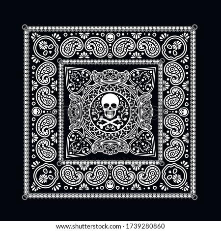 Vector ornament paisley, skulls and bones Bandana Print, fabric neck scarf or kerchief square patter Stock photo © sanyal