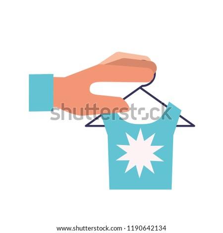 Hand Blauw shirt hanger online winkelen Stockfoto © yupiramos