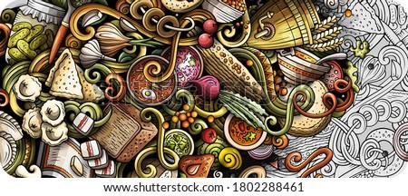 Russian food hand drawn vector doodles illustration. Russia cuis Stock photo © balabolka