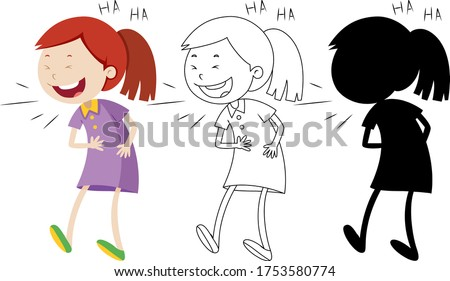 Girl laughing with its outline and silhouette Stock photo © bluering