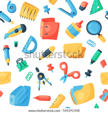 Set of stationary tools and school seamless Stock photo © bluering