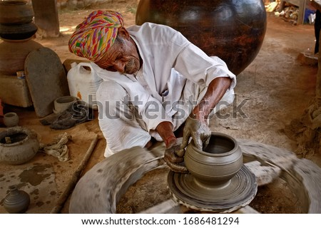 Indian potter hands at work, Shilpagram, Udaipur, Rajasthan, India Stock photo © dmitry_rukhlenko