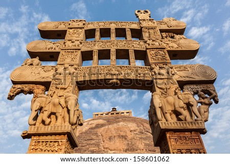 Gateway decoration Great Stupa. Sanchi, Madhya Pradesh, India Stock photo © dmitry_rukhlenko