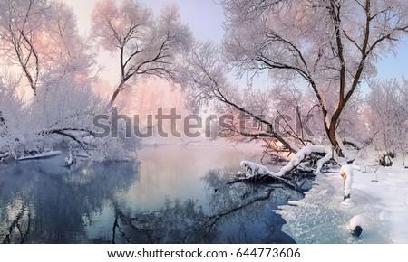 Tél tájkép folyó fagyos nap fa Stock fotó © galitskaya