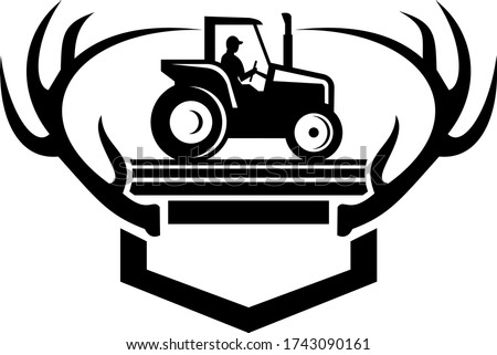 Blanche queue cerfs ramure vintage ferme Photo stock © patrimonio