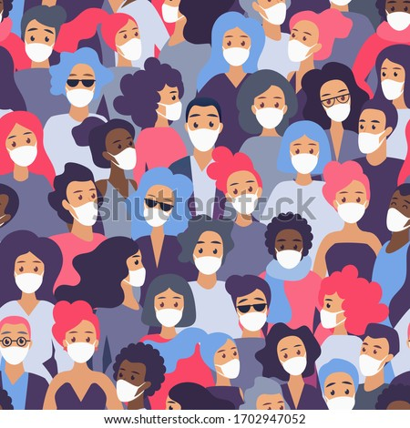 Black man wearing face medical mask at abstract vector elements background, spreading covid-19 Stock photo © robuart