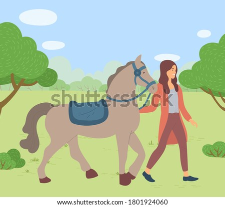 Woman walking with horse in park, summertime. Smiling female rider going with stallion outdoor Stock photo © robuart