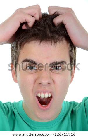 frustrated man isolated on white young teenager pulling at her stock photo © dacasdo