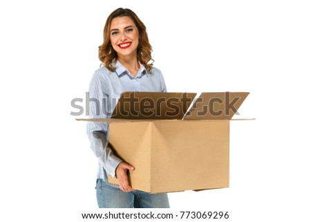 Closeup portrait of a young woman with boxes moving to her new h Stock photo © HASLOO