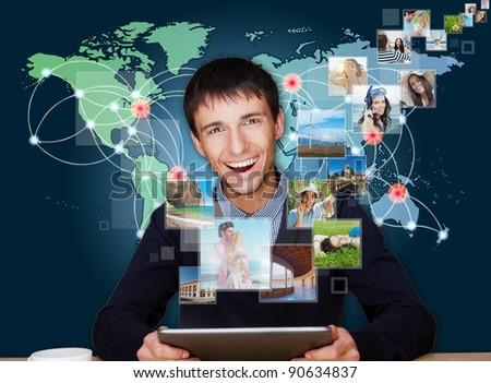 Tecnologia uomo immagini battenti via moderno Foto d'archivio © HASLOO