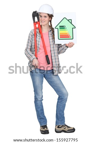 tradeswoman holding oversized pliers and an energy efficiency rating sign stock photo © photography33