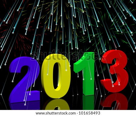 2013 With Fireworks Representing Year Two Thousand And Thirteen Stock photo © stuartmiles