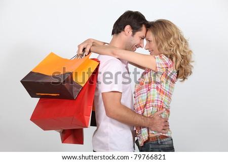 Stock fotó: Pár · szemtől · szembe · nő · férfi · póló · férfi
