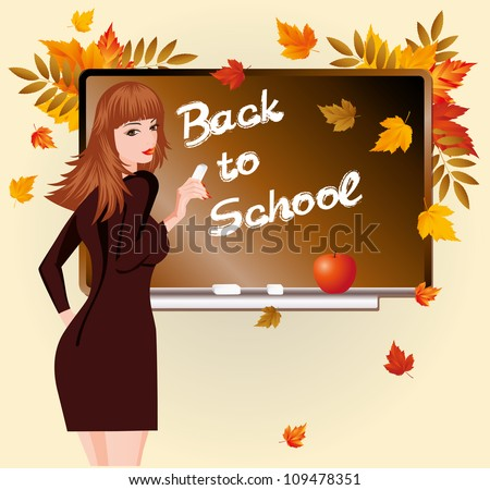 Back to school. Beautiful schoolteacher and apple. vector illustration Stock photo © carodi