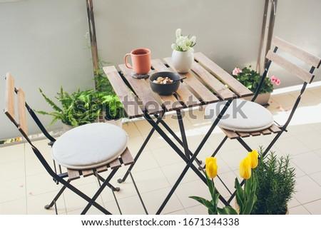 Décoré terrasse fleurs légumes automne jardin Photo stock © tannjuska