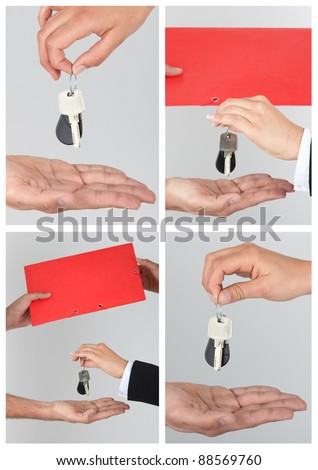 Collage of a new home owner receiving the keys to his property Stock photo © photography33