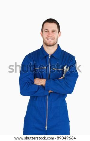 Sonriendo jóvenes mecánico traje blanco sonrisa Foto stock © wavebreak_media