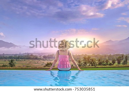 young girl with brown hat in summer holiday Stock photo © juniart