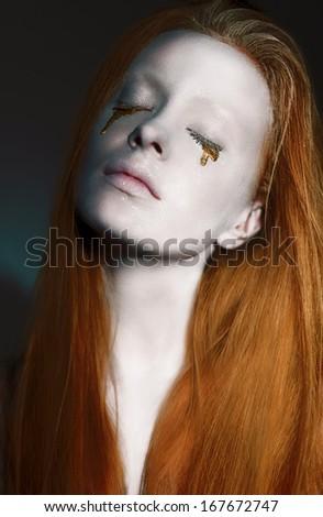 Stilizált arc arany smink kreatív modern Stock fotó © gromovataya