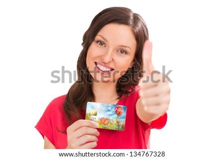 Positivo mujer banco plástico crédito Foto stock © HASLOO