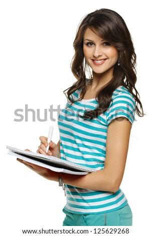 jóvenes · bastante · femenino · estudiante · escrito · notas - foto stock © hasloo