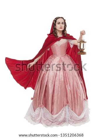 Bela mulher magnífico vestido vermelho isolado branco estúdio Foto stock © Victoria_Andreas