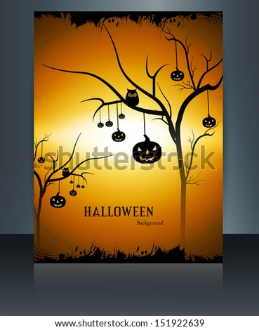 brochure colorful halloween reflection pumpkins party illustrati stock photo © bharat