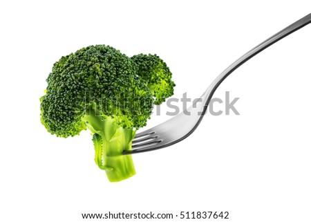 fresh raw vegetables on fork isolated on white background cutout stock photo © natika