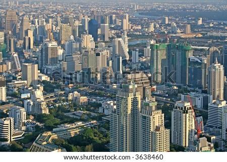 Kilátás Bangkok sziluett mutat iroda kockák Stock fotó © meinzahn