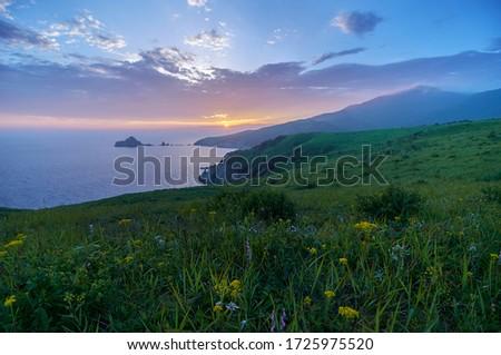 high angle view beautiful sunset stock photo © yongkiet