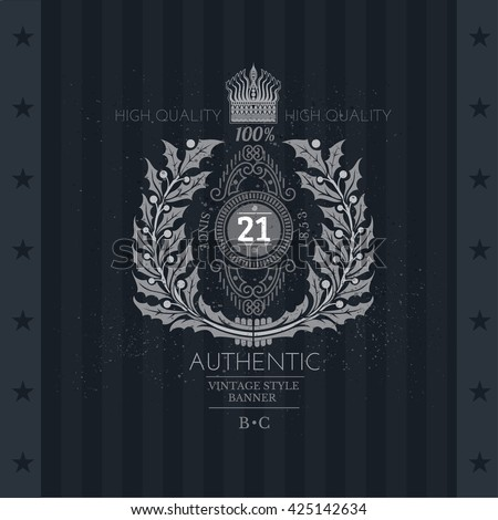 vintage illustration with a coat of arms on blackboard background stock photo © maximmmmum
