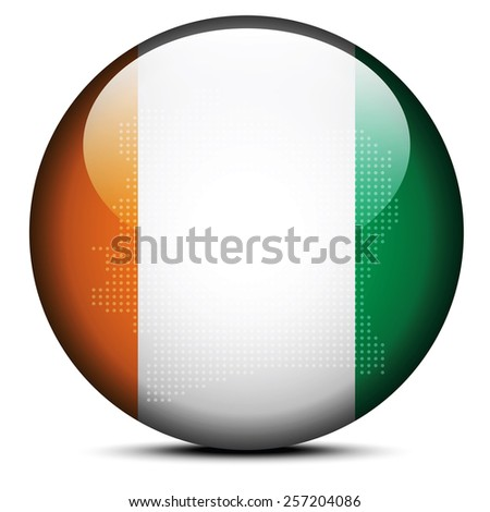 Map with Dot Pattern on flag button of Republic of Cote Divoire, Stock photo © Istanbul2009