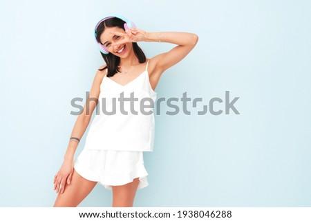 красивой сексуальная женщина пижама Sexy улыбаясь Сток-фото © bartekwardziak