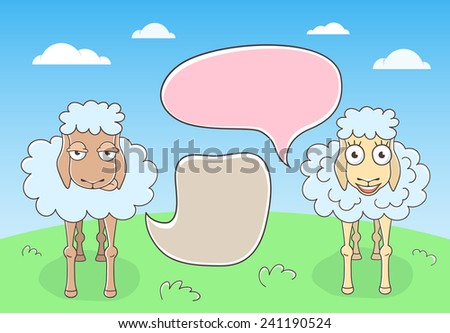 Two Cute Sheep Conversation with Speech Bubbles in doodle style Stock photo © vectorikart