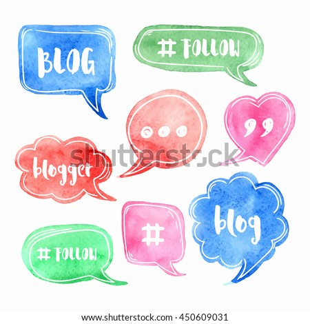 green watercolor blank speech bubble watercolor painted vector illustration stock photo © mcherevan