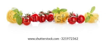 wide panoramic long horizontal view of tomatoespasta and basil on white stock photo © dla4