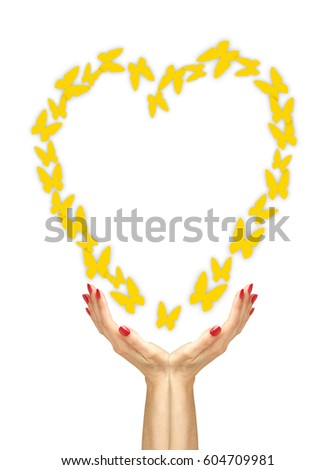 бумаги желтый бабочки лет женщину рук Сток-фото © tetkoren