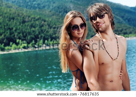 Bikini model resting On Tropical Beach. Outdoor portrait of beau Stock photo © Victoria_Andreas