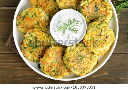 vegetable marrows fritters with joghurt Stock photo © zoryanchik