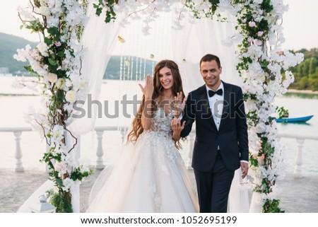 закат Свадебная церемония арки цветок Сток-фото © Victoria_Andreas