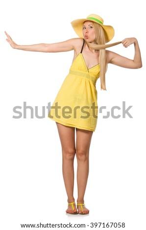 Caucasiano feira modelo amarelo verão vestir Foto stock © Elnur