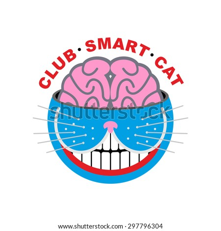 logo cat club smart cat animal and brain emlema for pet lover stock photo © popaukropa