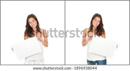 two happy laughing women in white shirts holding sweet cupcakes stock photo © deandrobot