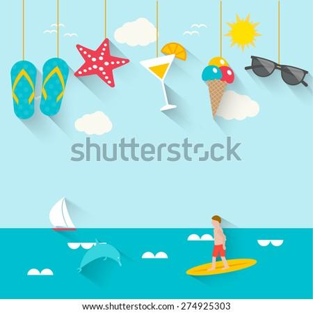 Stock fotó: Vektor · nyári · szabadság · terv · napszemüveg · kék · tenger