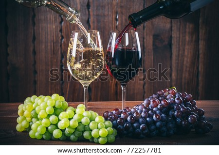 Vintage wine glass against background bunch of grapes and cooper stock photo © user_11056481