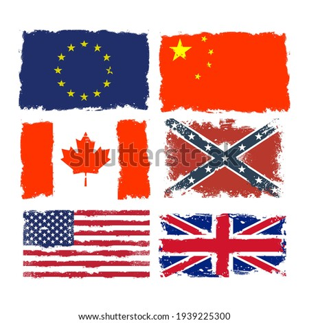 Set of shabby flags of Canada, China, Confederate army, European stock photo © gomixer